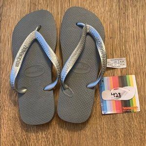 Havaianas, 35-36, grey, silver wide strap, new